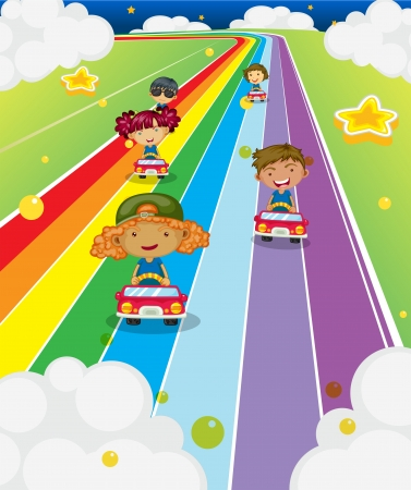 Illustration of the five kids racing Vector