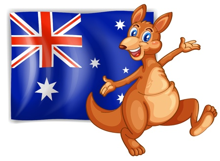 Illustration of a kangaroo presenting the flag of Australia on a white background Vector