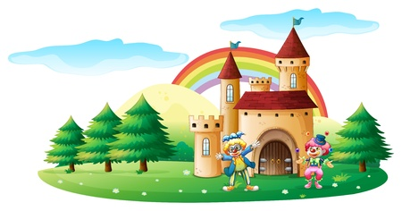 rainbow scene: Illustration of the two clowns in front of a castle on a white background