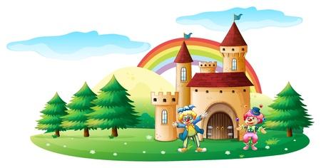 Ilustracja z dwóch klaunów przed zamku na białym tle Ilustracje wektorowe