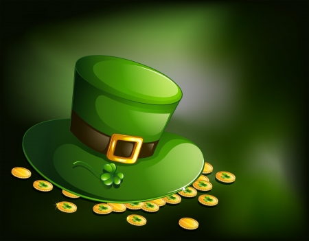 feast of saint patrick: Illustration of a green hat with gold tokens