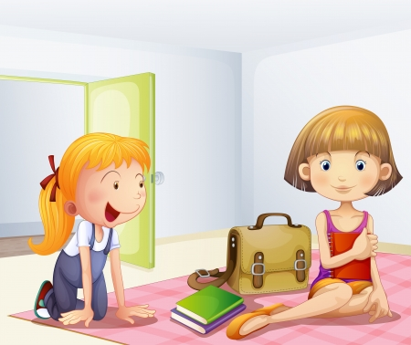 Illustration of the two girls inside a room with books Stock Vector - 18610640