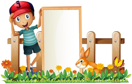 Illustration of a boy holding a framed empty banner with a rabbit on a white background Vector