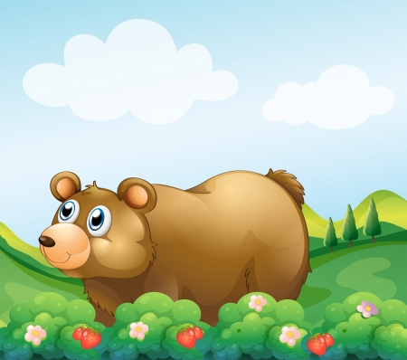 strawberry tree: Illustration of a brown bear in the strawberry garden