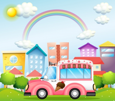 establishments: Illustration of a pink icecream bus in the city
