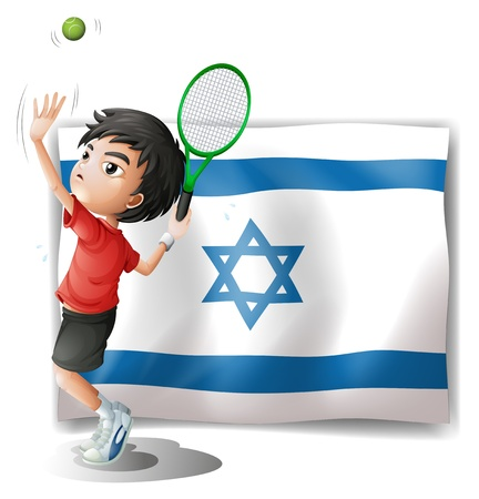 tennis serve: Illustration of the flag of Israel and the tennis player on a white background Illustration