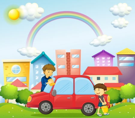 Illustration of a father and son cleaning the red car Illustration