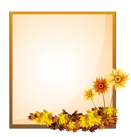 stationery borders: Illustration of a framed empty signage with flowers on a white background