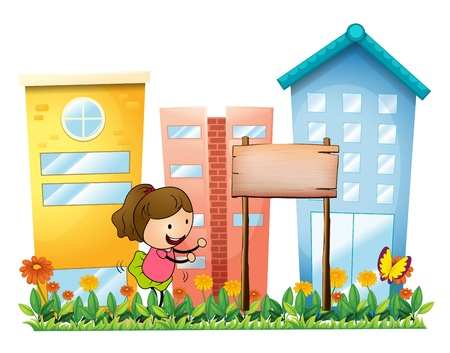 Illustration of a girl playing in the garden beside a wooden signboard on a white backgorund Stock Vector - 18610819