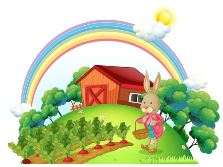 Illustration of a bunny with a basket in the garden on a white background  Vector