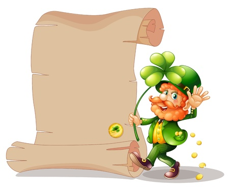 feast of saint patrick: Illustration of an old man beside the empty paper on a white background