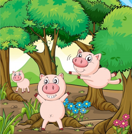 jungle vines: Illustration of the three pigs playing in the forest