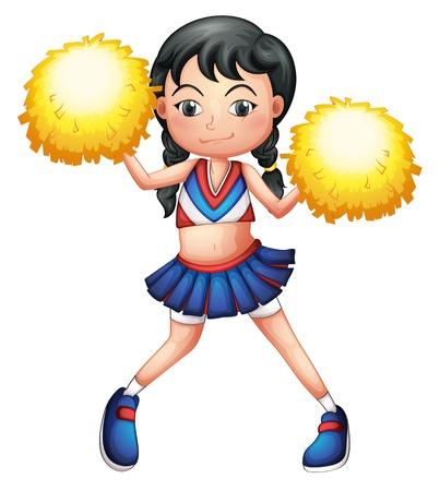 cheer leader: Ilustraci�n de una animadora en el uniforme con pompones amarillos sobre un fondo blanco Vectores