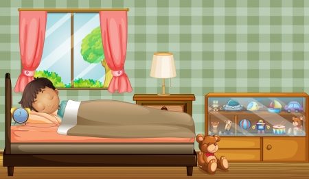 sleeping room: Illustration of a boy sleeping soundly inside his room
