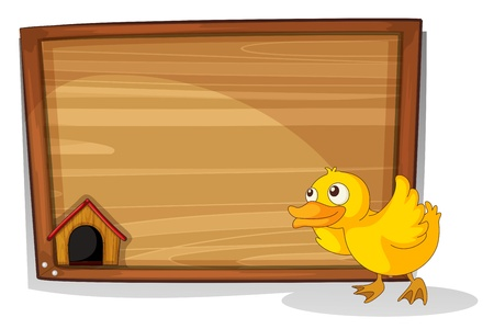 Illustration of an empty board with a yellow baby duck on a white background Vector