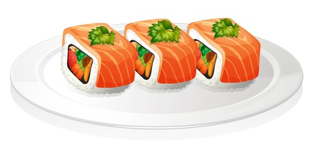 melaware: Illustration of a plate with sushi on a white background Illustration