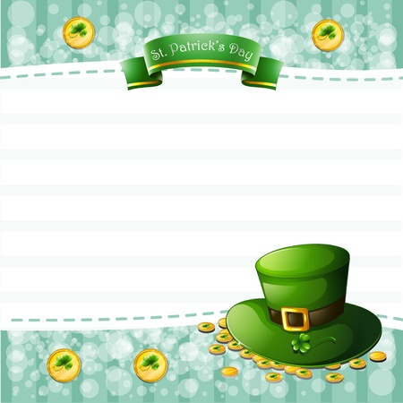 Illustration of a stationery for St. Patrick's Day with a hat and coins Stock Vector - 18607754