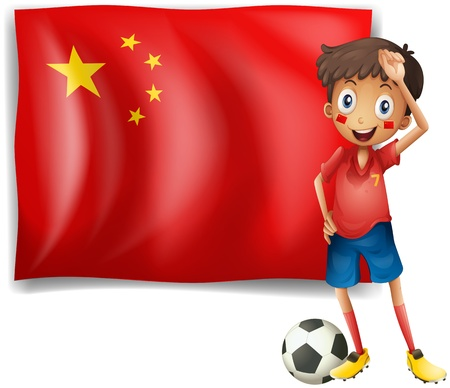 Illustration of an athlete in front of the flag of China on a white background Vector