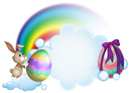 Illustration of a bunny pushing an easter egg on a white background Stock Vector - 18607867