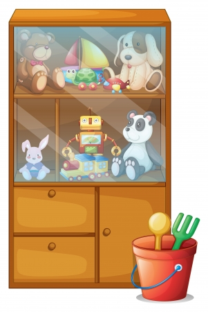 Illustration of a cabinet full of toys on a white background Vector