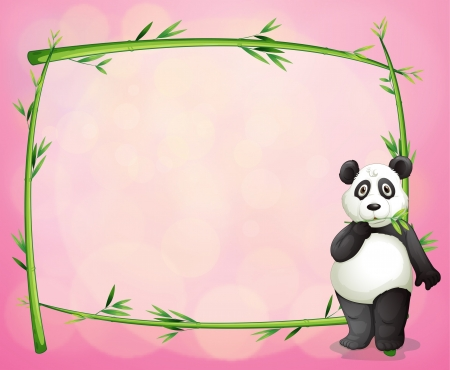 Illustration of a panda and the green bamboo frame Vector