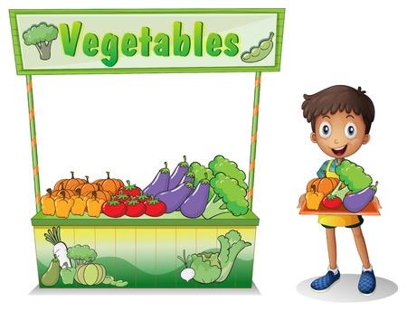 bancarella: Illustrazione di un ragazzo di vendita di verdure su uno sfondo bianco Vettoriali
