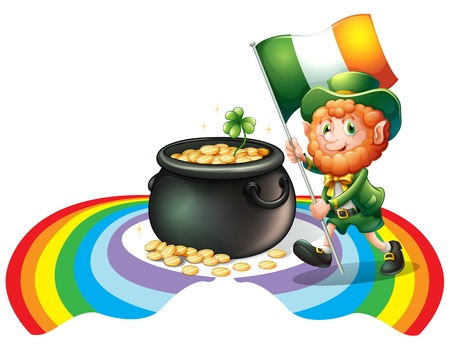 patron saint of ireland: Illustration of a man holding a flag with a pot of gold coins on a white background