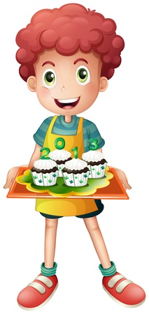 feast of saint patrick: Illustration of a boy holding a tray with four cupcakes on a white background