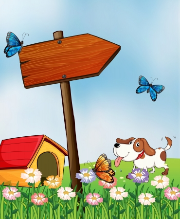 picutre: Illustration of a dog with a doghouse beside an arrowboard