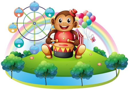 Illustration of a musical monkey near the ferris wheel on a white background Vector