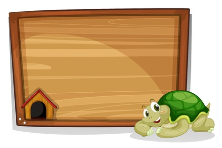 cartoon frame: Illustration of a turle beside the empty wooden board on a white background Illustration