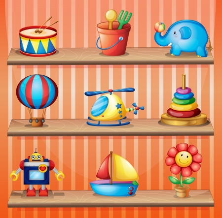 Illustration of the toy collections that are properly arranged in the wooden shelves Stock Vector - 18610841