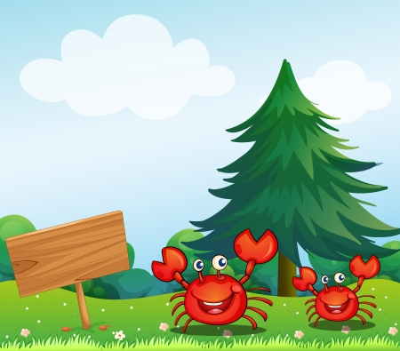 Illustration of the two crabs near the empty signboard Stock Vector - 18610423