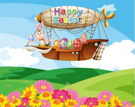 Illustration of an aircraft with a Happy Easter greeting carrying the colorful eggs