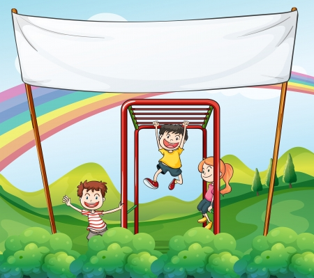 Illustration of the three kids playing near the empty banner Vector