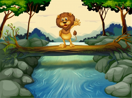 Illustration of a lion standing at the trunk above the flowing river Vector