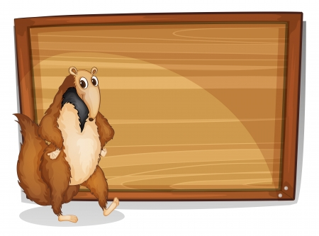 anteater: Illustration of a wild animal beside an empty board on a white background