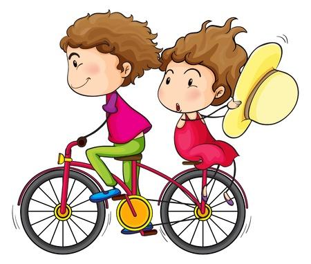 wind wheel: Illustrazione di una ragazza e un ragazzo in sella a una bicicletta in rapido movimento su uno sfondo bianco Vettoriali