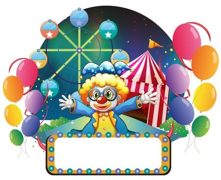 venue: Illustrazione di un clown del carnevale con una segnaletica vuota su uno sfondo bianco