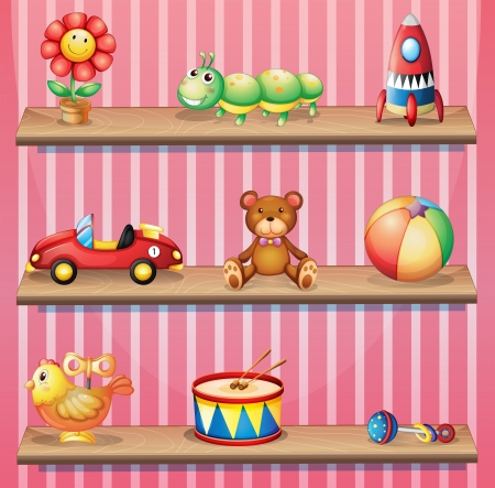 wooden shelves: Illustration of the wooden shelves with toys Illustration