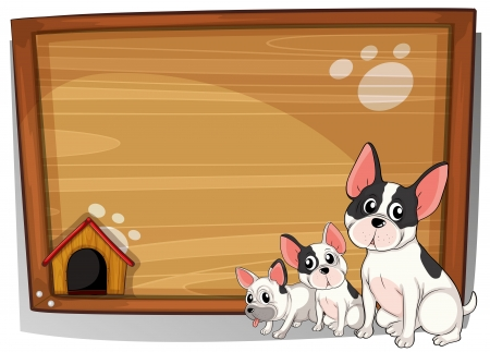 drawings image: Illustration of the three dogs in front of a wooden board on a white background