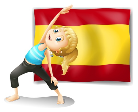 Illustration of the flag of Spain at the back of a girl on a white background Stock Vector - 18610407