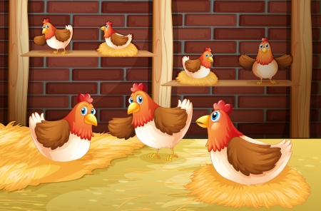 Illustration of the seven hens Vector