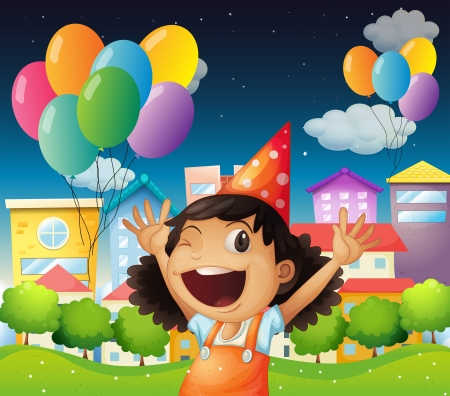 birthday cartoon: Illustration of a happy little girl celebrating her birthday Illustration