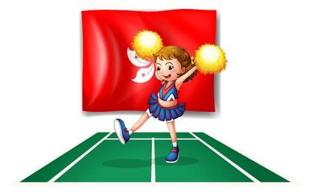 cheer leader: Ilustraci�n de la bandera de Hong Kong con una cheerdancer en�rgico sobre un fondo blanco