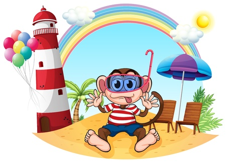 Illustration of a monkey with goggle at the beach on a white background