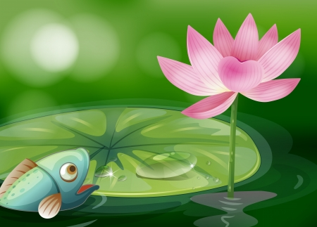 Illustration of a fish with a waterlily and a flower at the pond Stock Vector - 18607741