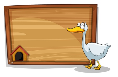 Illustration of a duck beside a wooden board on a white background Vector