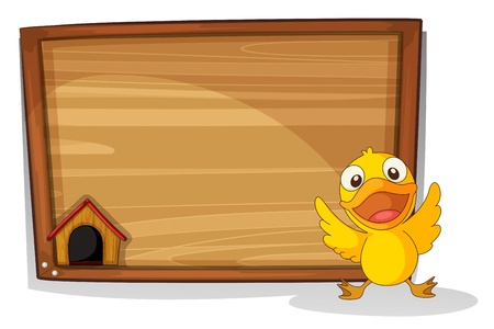 lllustration: lllustration of a baby duck in front of a wooden board on a white background