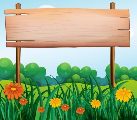 정원에서 나무 간판의 그림 일러스트